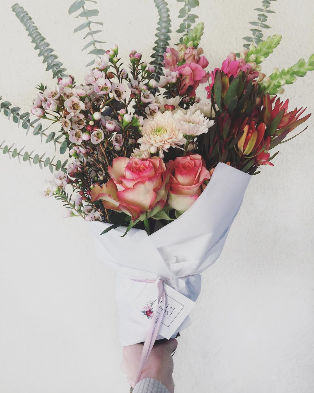 Today's romantic Posy is two-tone roses, snapdragons, blush Fynbos, salmon sprays, wax-in-bloom and penny gum. Order before 12:30pm for delivery this afternoon ?