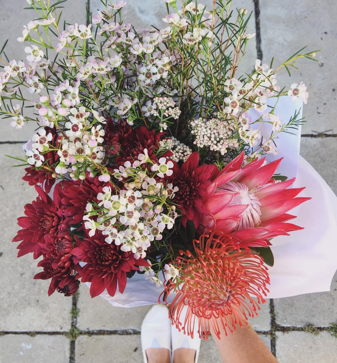 Cape blooms 👐🏼Today's Posy is the gorgeous Madiba Protea, the pincushion Protea and wax, rice flowers and sprays. Order before 12:30pm for delivery this afternoon at www.petalandpost.co.za